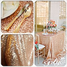 TRLYC 60x120inch Christmas Rose Gold Sequin Table