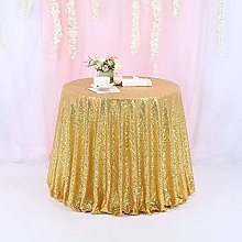 TRLYC 72 Inch Round Sequin Tablecloth for Wedding
