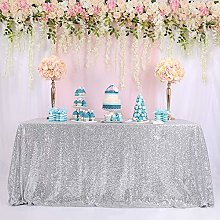 "TRLYC 90""132"" Silver 6FT Sequin Table"
