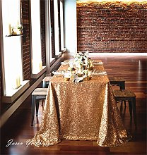 "TRLYC 90""x132"" Christmas Gold Sequin Table"