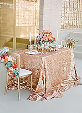 TRLYC Christmas Rose Gold Sequin Table Cloth for