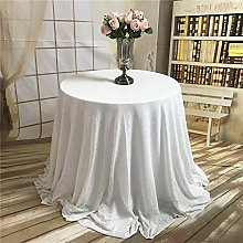 Trlyc Christmas White Round Sequin Tablecloth for