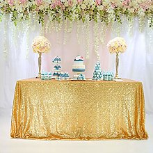 TRLYC Gold Rectangle Sequin Tablecloth for Party