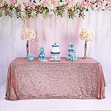 TRLYC Rose Gold Shimmer Table Cloth 48 * 60inch