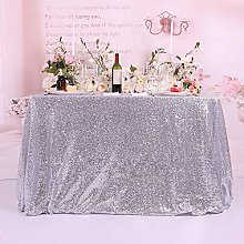 TRLYC Sequin Tablecloth-60x126-Inch-Silver