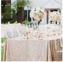 TRLYC Sequin Tablecloth Rectangular Champagne
