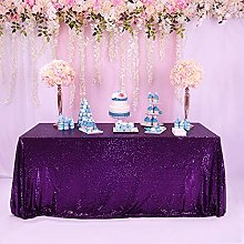 TRLYC Sparkly Tablecloth 50x80 Inch Purple Shimmer