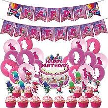 Troll Theme Party Decorations Set BESTZY Birthday
