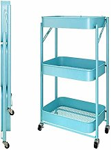 Trolley Folding Kitchen Storage Cart On Wheels