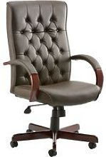 Tronso Traditional Leather Armchair Brown, Brown