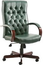Tronso Traditional Leather Armchair Green, Green