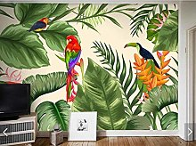 Tropical Banana Leaves and Flowers Wallpaper