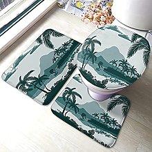 Tropical Bathmat,Tropical Landscape with Palm