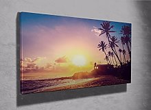 Tropical beach house paradise and palms framed