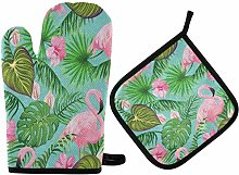 Tropical Exotic Flowers and Flamingo Oven Mitts
