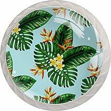 Tropical Green Leaf Crystal Drawer Cabinet Knobs