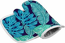 Tropical Green Leaves Heat Resistant Oven Gloves