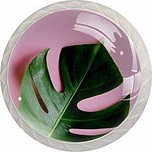 Tropical Green Leaves PinkRound Glass knob White