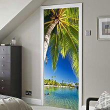 Tropical Island Door Sticker East Urban Home