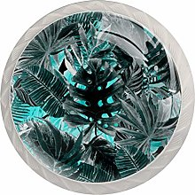 Tropical Leaves Blue 4 Pieces Crystal Glass