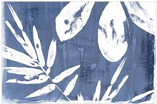 Tropical Leaves in Indigo 1.9m x 2.88m Textured