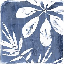 Tropical Leaves in Indigo 2.88m x 2.88m Textured