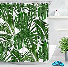 Tropical Leaves Palm Shower Curtain Set for