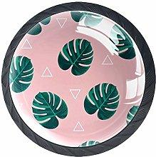 Tropical Leaves Pink Cabinet Door Knobs Handles