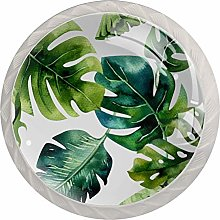 Tropical Leaves Round Cabinet Knobs 4pcs Knobs for