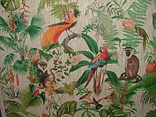 Tropical Monkey Parrot Bird French 100% Linen