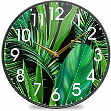 Tropical Palm Treee Leaves Green Black Round Wall