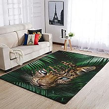 Tropical rain forest and leopard Area Rug