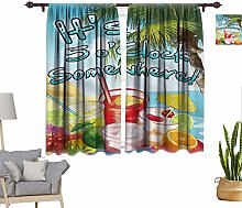 Tropical Window Curtains, Summer Holiday Pattern