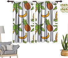 Tropical Window Curtains, Summer Pattern with Palm