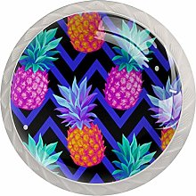 Tropical with Pineapples Set of 4 Dresser Round