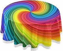 TropicalLife FELIZM Round Tablecloth Rainbow Swirl