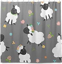 TropicalLife HaJie Bathroom Shower Curtain Sheep