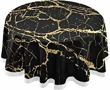 TropicalLife HaJie Tablecloth Golden Line Black