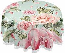 TropicalLife HaJie Tablecloth Rose Flower Leaves
