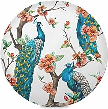 TropicalLife SunsetTrip Round Place Mats Peacock