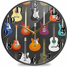 TropicalLife Wall Clock Music Pattern With Guitar