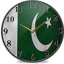TropicalLife Wall Clock Pakistan Flag With Cloth