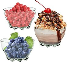 TRTO 3 Bowls Glass Dessert Party Fruit Serving Set