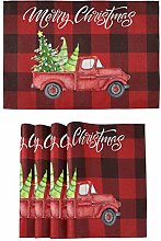 Truck Plaid Christmas Tree Placemats Kitchen