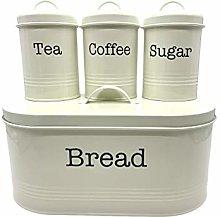 Truenova Set of 4 Tea Coffee Sugar Bread Bin Cream