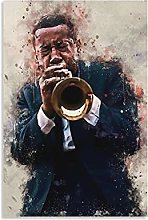 Trumpeter Louis Armstrong Canvas Art Poster and