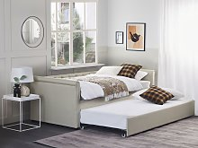 Trundle Bed Beige Fabric Upholstery EU Single Size