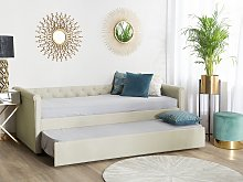 Trundle Bed Beige Fabric Upholstery EU Small