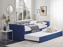 Trundle Bed Blue Fabric Upholstery EU Single Size