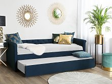 Trundle Bed Blue Fabric Upholstery EU Small Single